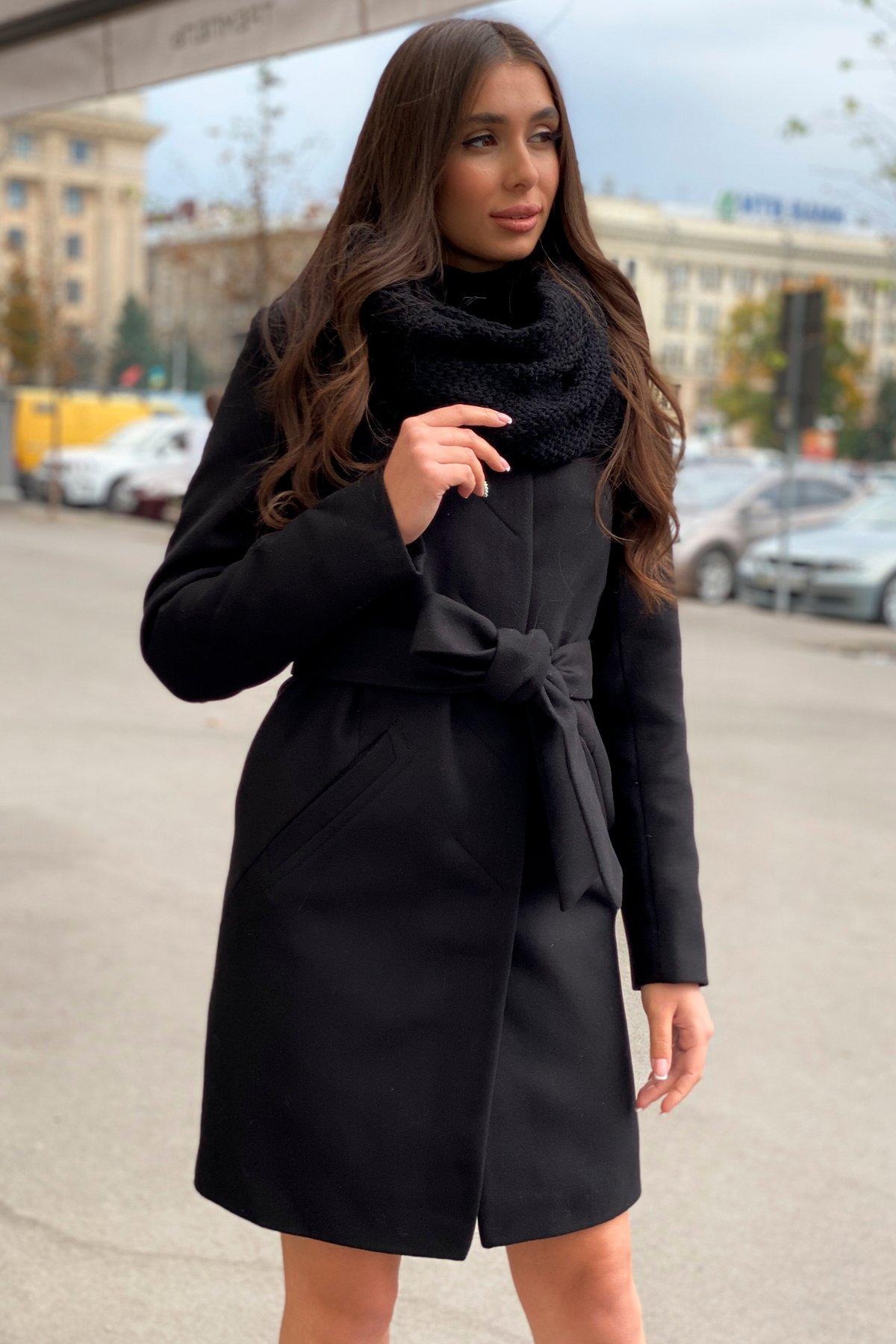 Пальто зима с хомутом Люцея 8211 АРТ. 44225 Цвет: Черный Н-1 - фото 1, интернет магазин tm-modus.ru