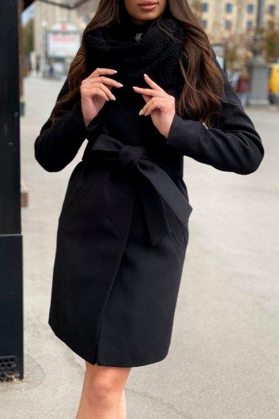 Пальто зима с хомутом Люцея 8211 Цвет: Черный Н-1