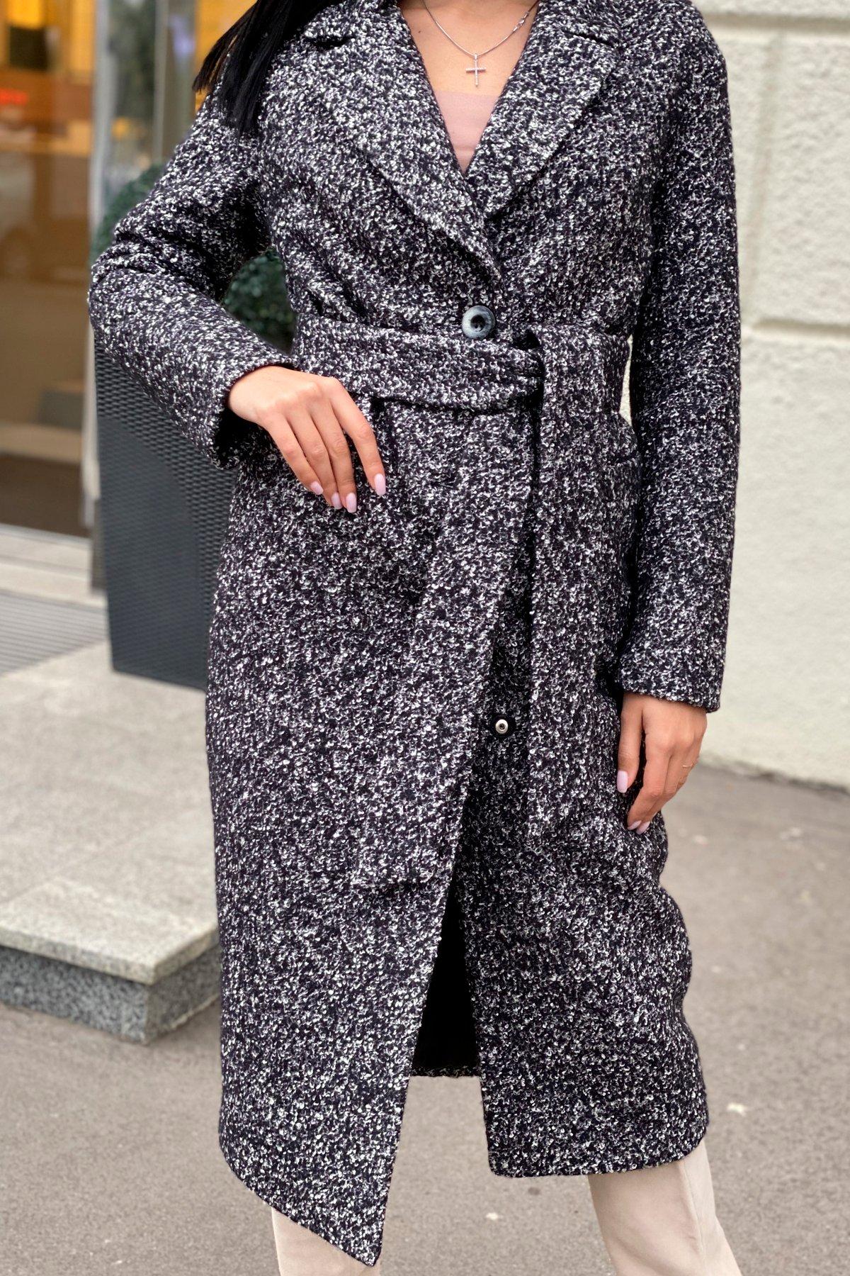 Теплое зимнее пальто буклированная шерсть Вива макси 8349 АРТ. 44517 Цвет: Черный/серый 61 - фото 1, интернет магазин tm-modus.ru