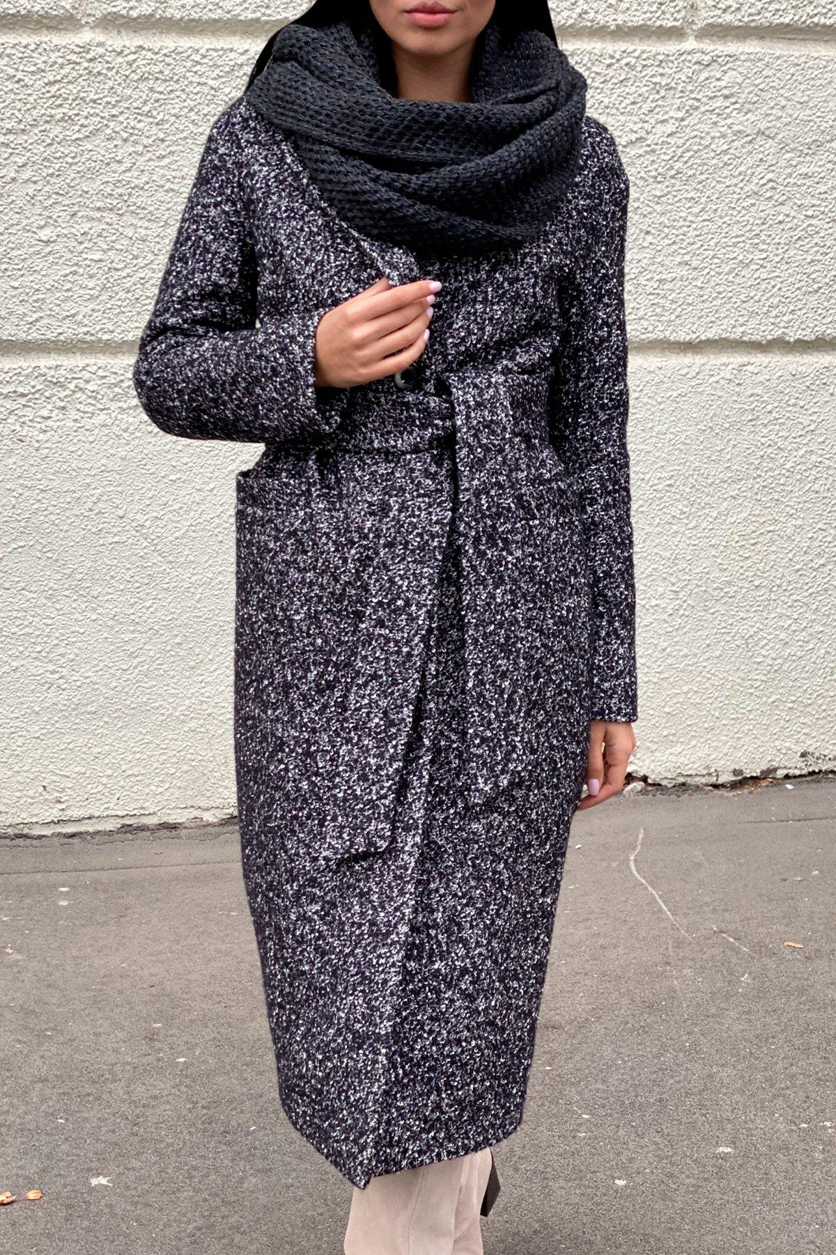 Теплое зимнее пальто буклированная шерсть Вива макси 8349 АРТ. 44517 Цвет: Черный/серый 61 - фото 4, интернет магазин tm-modus.ru
