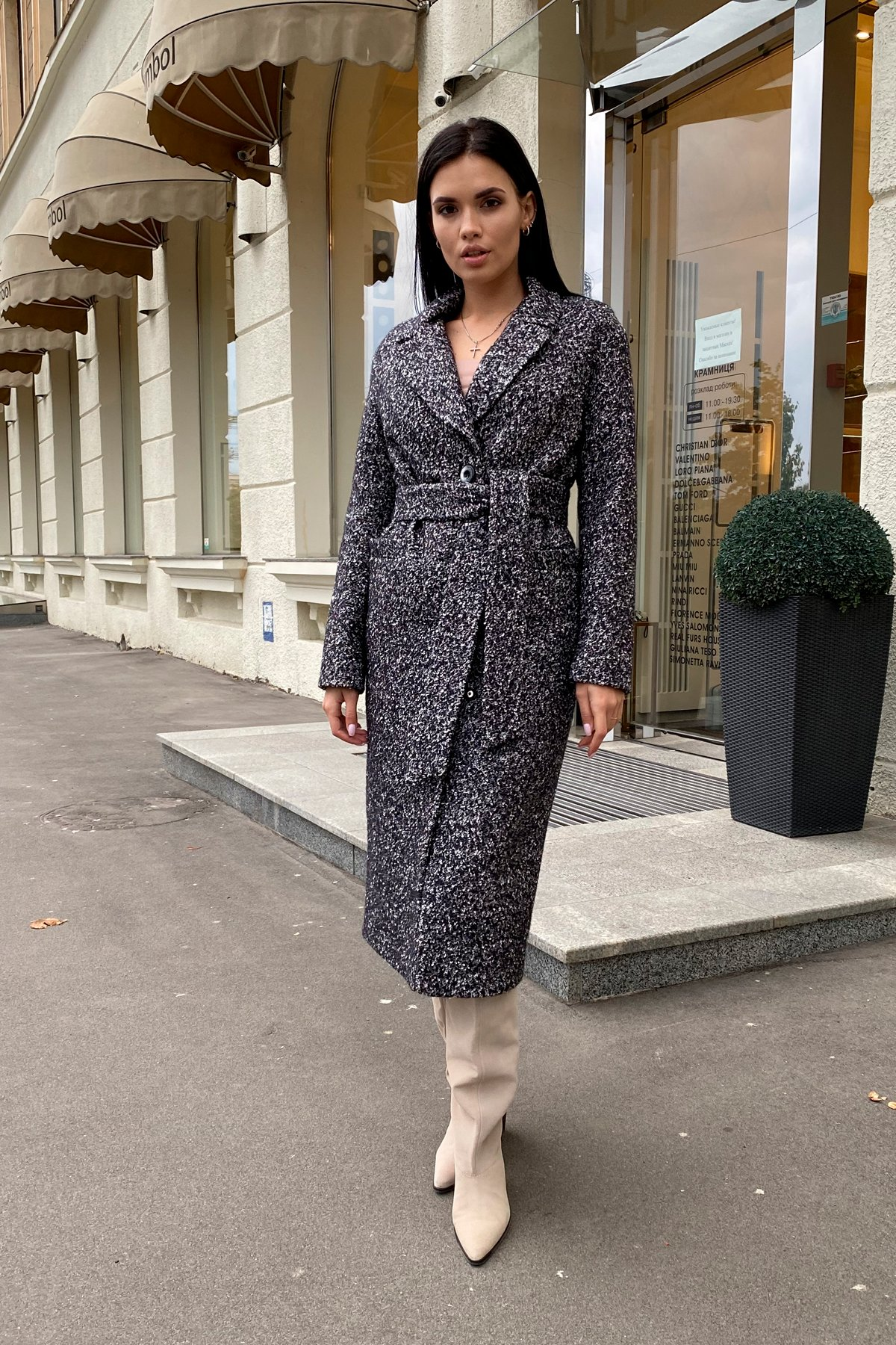 Теплое зимнее пальто буклированная шерсть Вива макси 8349 АРТ. 44517 Цвет: Черный/серый 61 - фото 7, интернет магазин tm-modus.ru