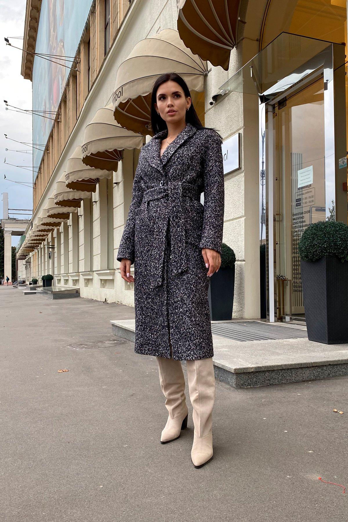 Теплое зимнее пальто буклированная шерсть Вива макси 8349 АРТ. 44517 Цвет: Черный/серый 61 - фото 14, интернет магазин tm-modus.ru
