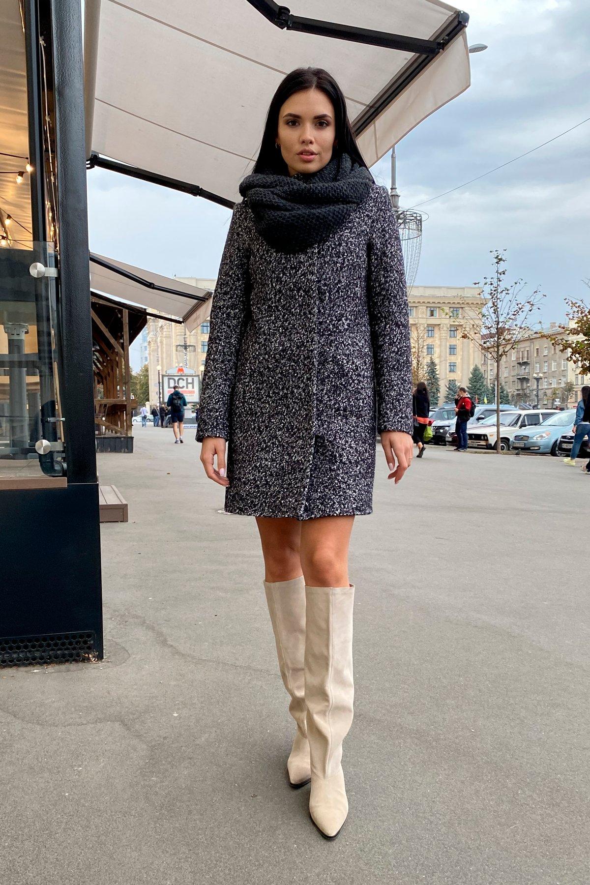 Пальто зима шерсть букле Фортуна 8508 Цвет: Черный/серый