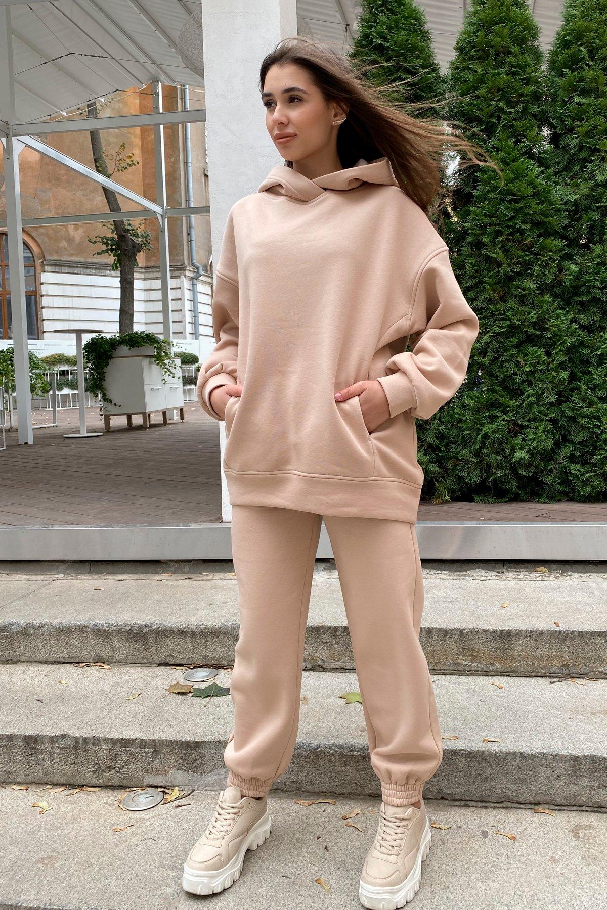 Марион Oversize трикотаж 3х нитка с начесом костюм 9651 АРТ. 45951 Цвет: Бежевый - фото 3, интернет магазин tm-modus.ru