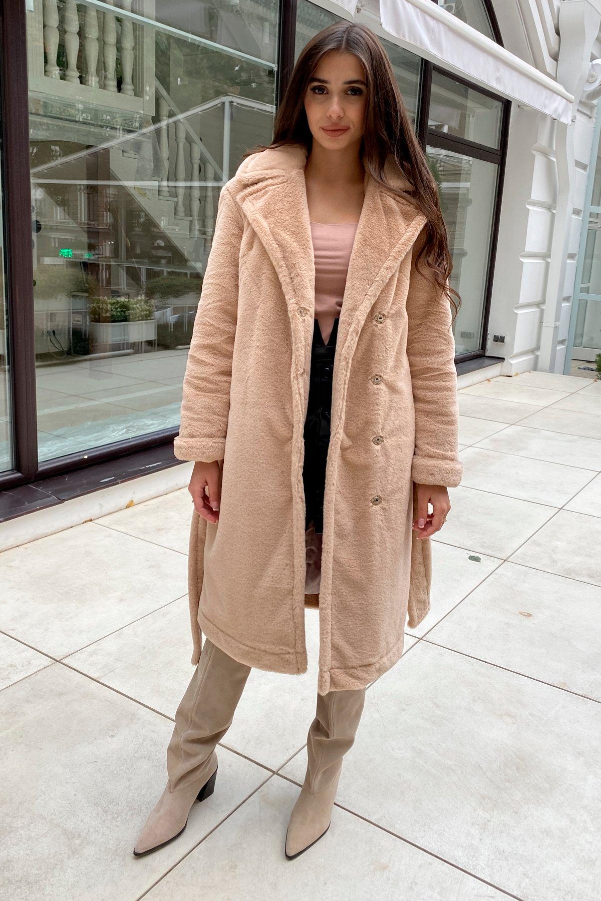 Зимнее пальто из искусственного меха норки Саманта 8641 АРТ. 44956 Цвет: Бежевый - фото 1, интернет магазин tm-modus.ru