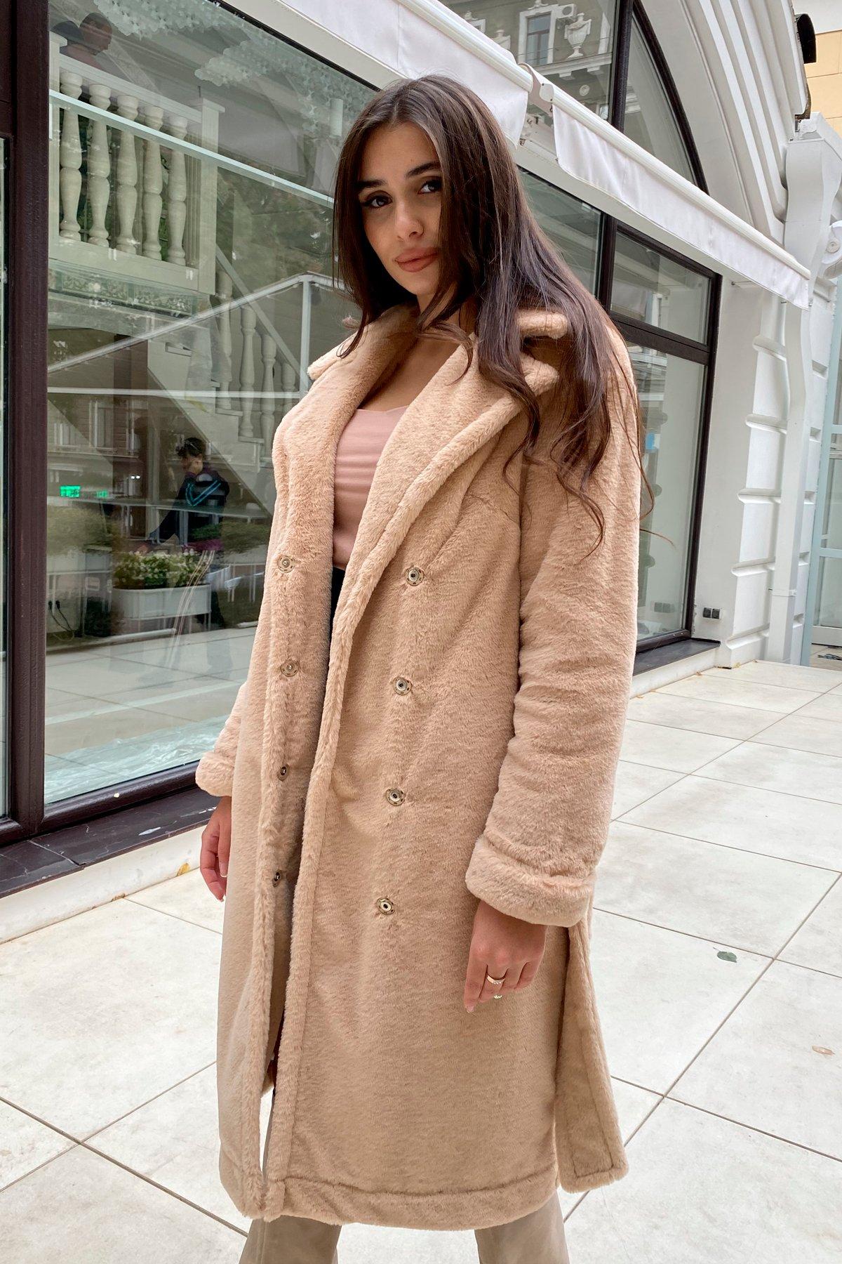 Зимнее пальто из искусственного меха норки Саманта 8641 АРТ. 44956 Цвет: Бежевый - фото 8, интернет магазин tm-modus.ru