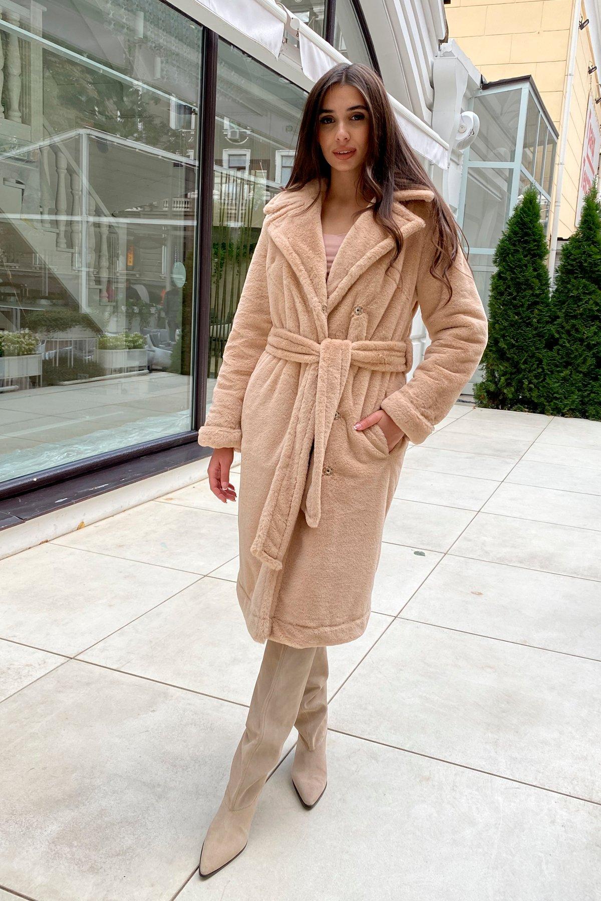 Зимнее пальто из искусственного меха норки Саманта 8641 АРТ. 44956 Цвет: Бежевый - фото 11, интернет магазин tm-modus.ru