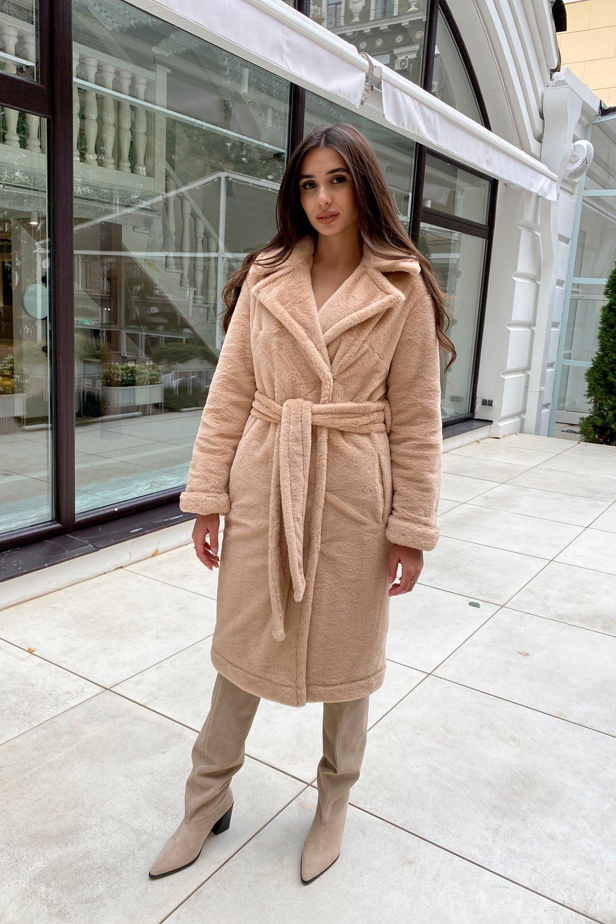 Зимнее пальто из искусственного меха норки Саманта 8641 АРТ. 44956 Цвет: Бежевый - фото 14, интернет магазин tm-modus.ru