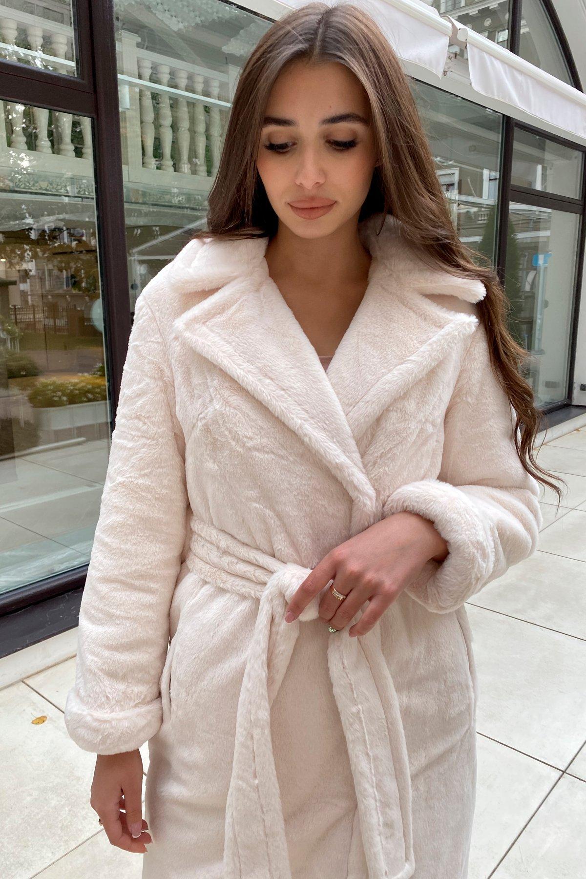 Зимнее пальто из искусственного меха норки Саманта 8641 АРТ. 44957 Цвет: Молоко - фото 2, интернет магазин tm-modus.ru