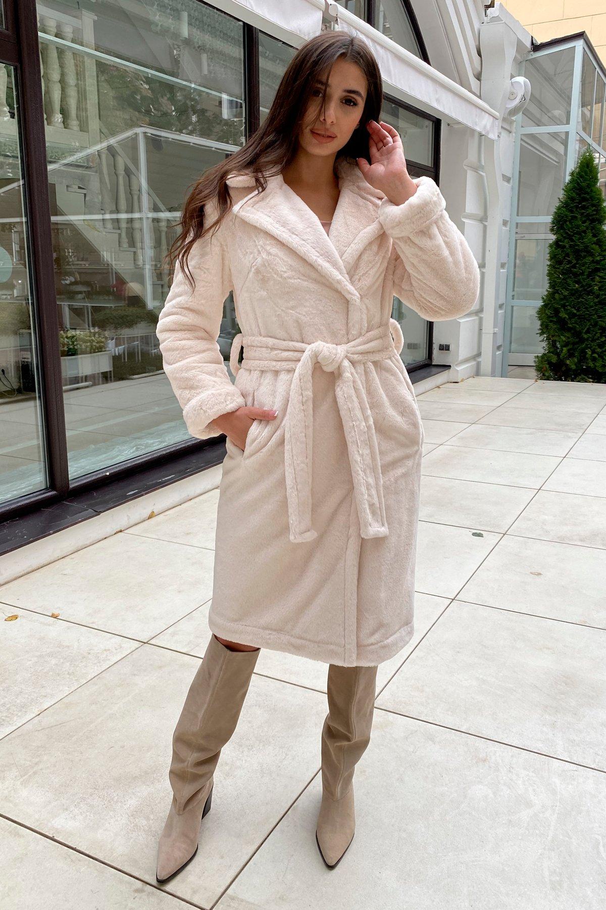 Зимнее пальто из искусственного меха норки Саманта 8641 АРТ. 44957 Цвет: Молоко - фото 10, интернет магазин tm-modus.ru