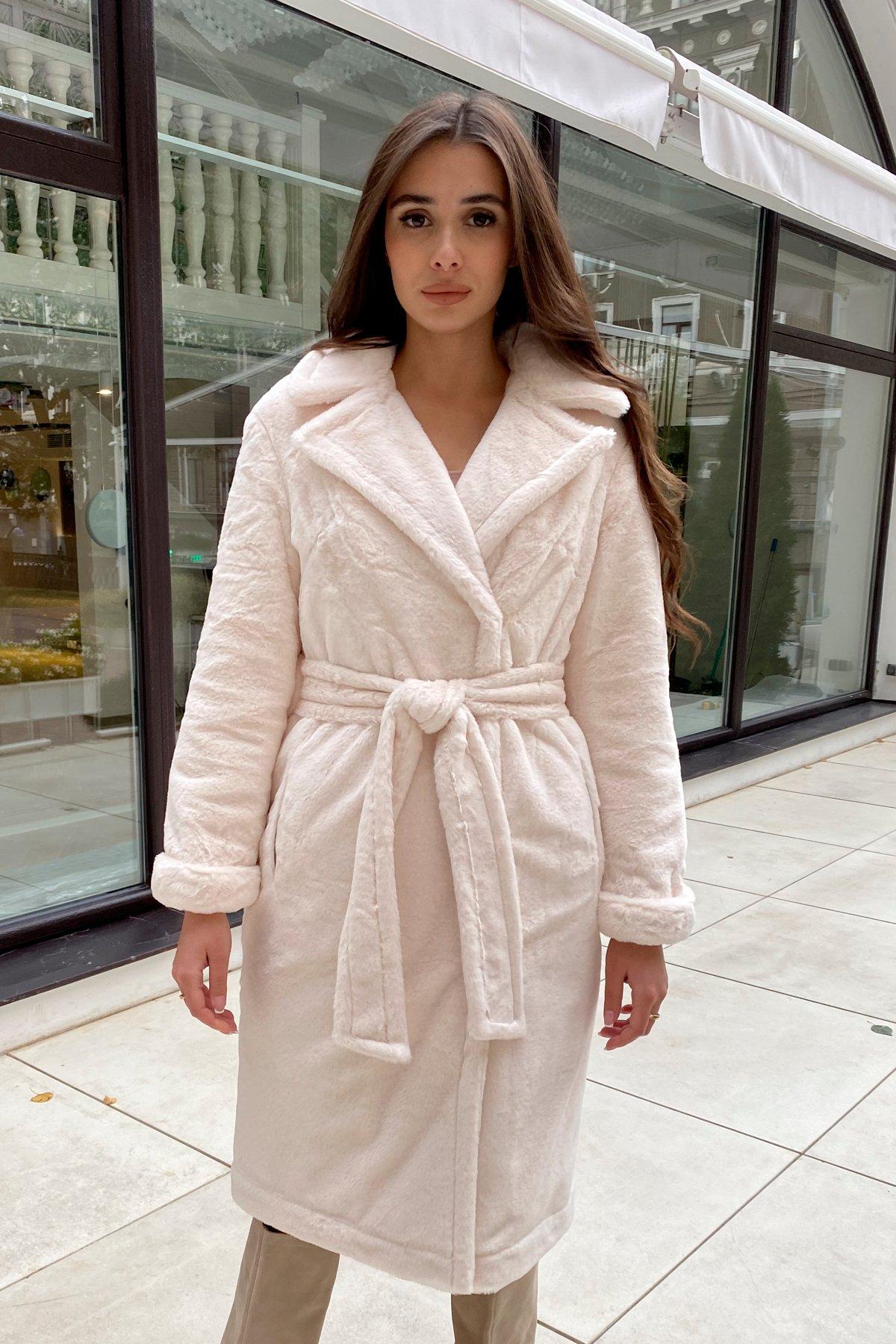 Зимнее пальто из искусственного меха норки Саманта 8641 АРТ. 44957 Цвет: Молоко - фото 13, интернет магазин tm-modus.ru