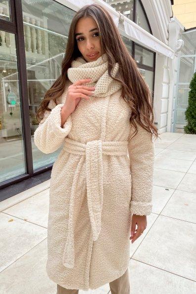 Пальто из эко меха Приора 8564 Цвет: Молоко