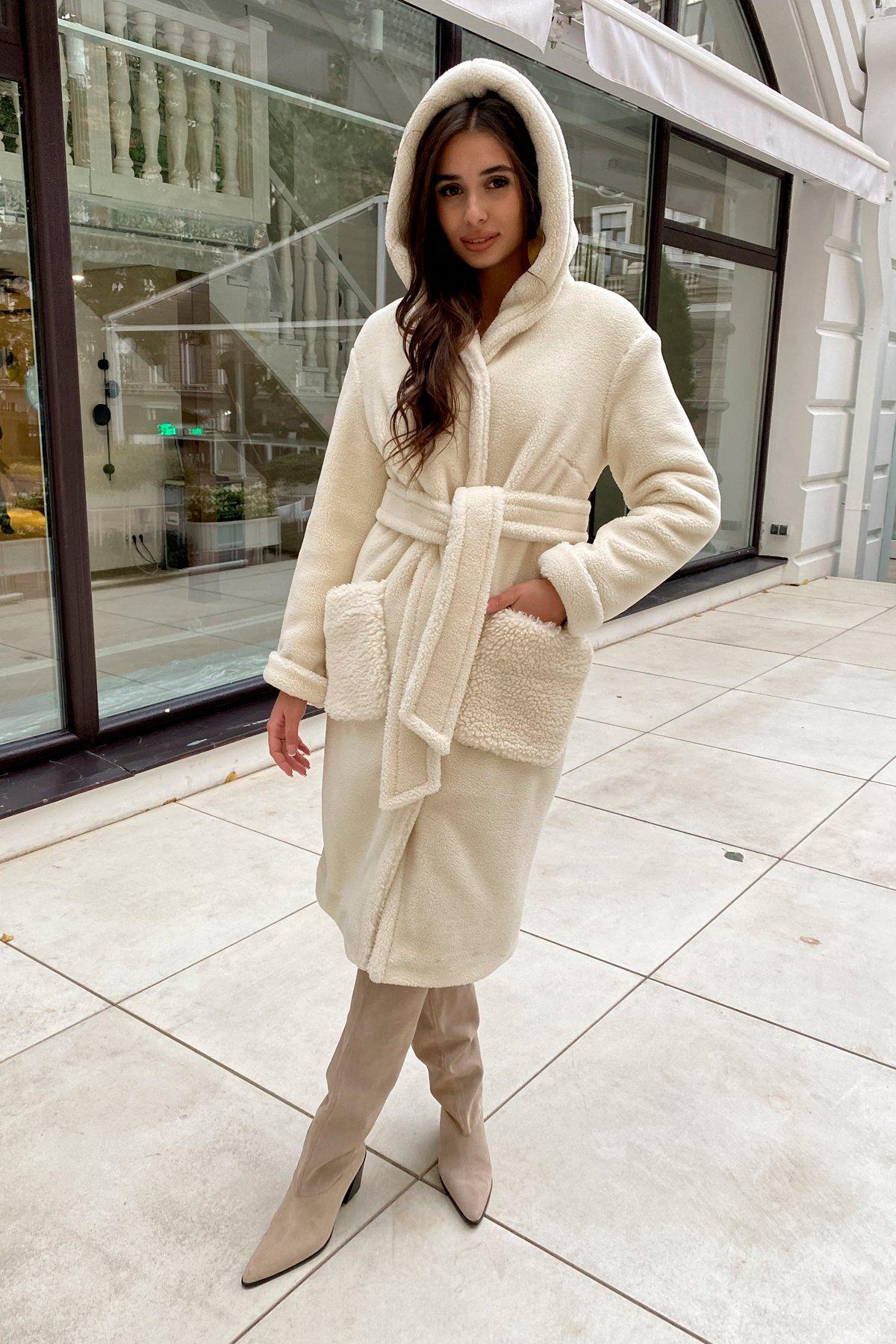Пальто из искусственного меха Анита 8197 АРТ. 44955 Цвет: Молоко - фото 1, интернет магазин tm-modus.ru