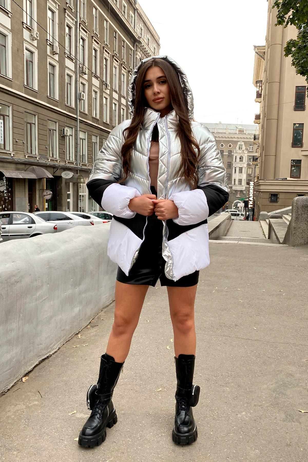 Трехцветный пуховик Австрия 8371 АРТ. 44546 Цвет: Серебро/черный/белый - фото 11, интернет магазин tm-modus.ru