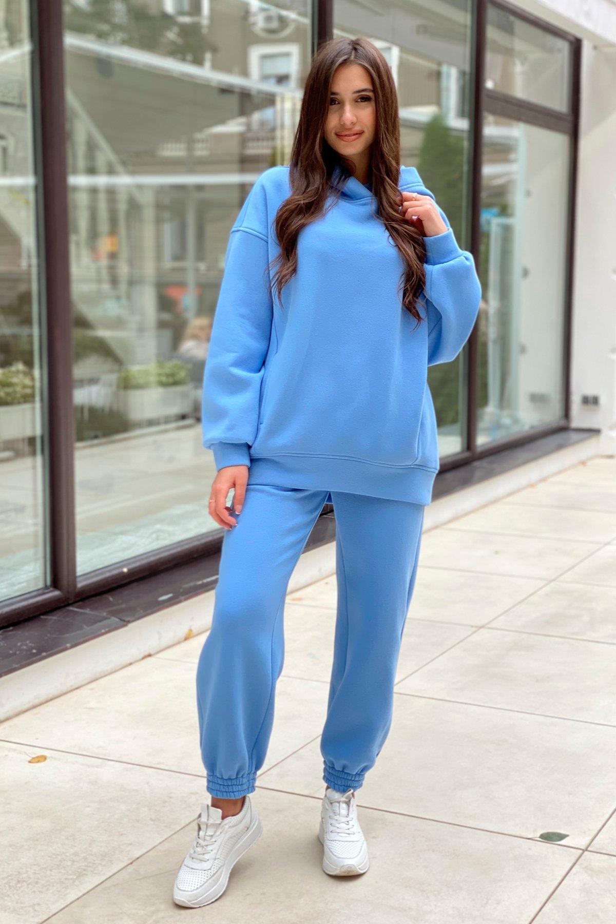Марион Oversize трикотаж 3х нитка с начесом костюм 9651 Цвет: Голубой 2