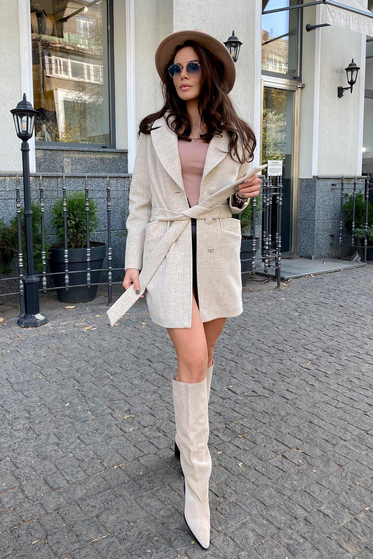Вейсона клетка комби пальтовая ткань пальто 9874 АРТ. 46161 Цвет: Св.бежевый/молоко - фото 11, интернет магазин tm-modus.ru