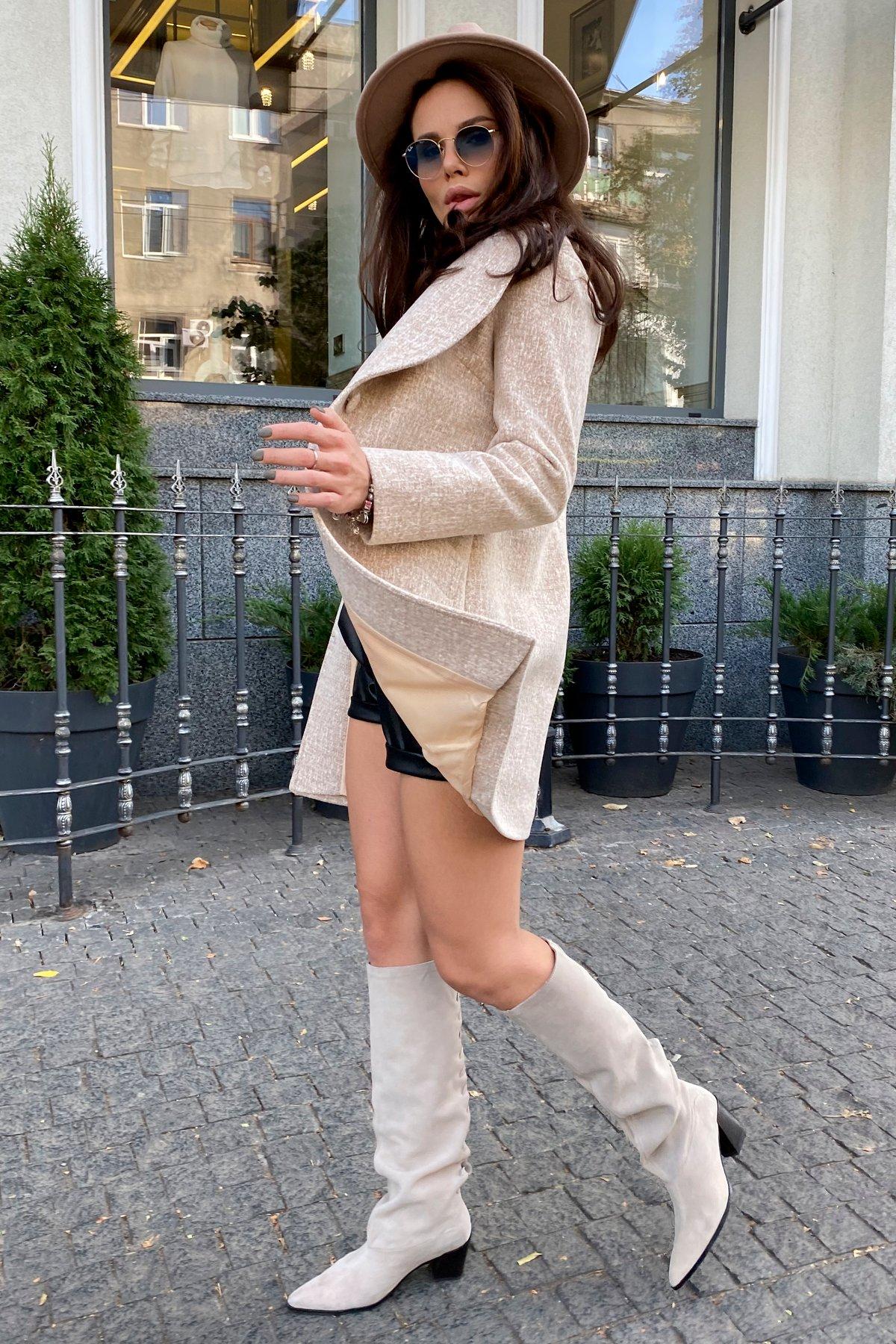 Вейсона кашемир на трикотаже текстурный пальто 9872 АРТ. 46160 Цвет: Бежевый/молоко - фото 1, интернет магазин tm-modus.ru
