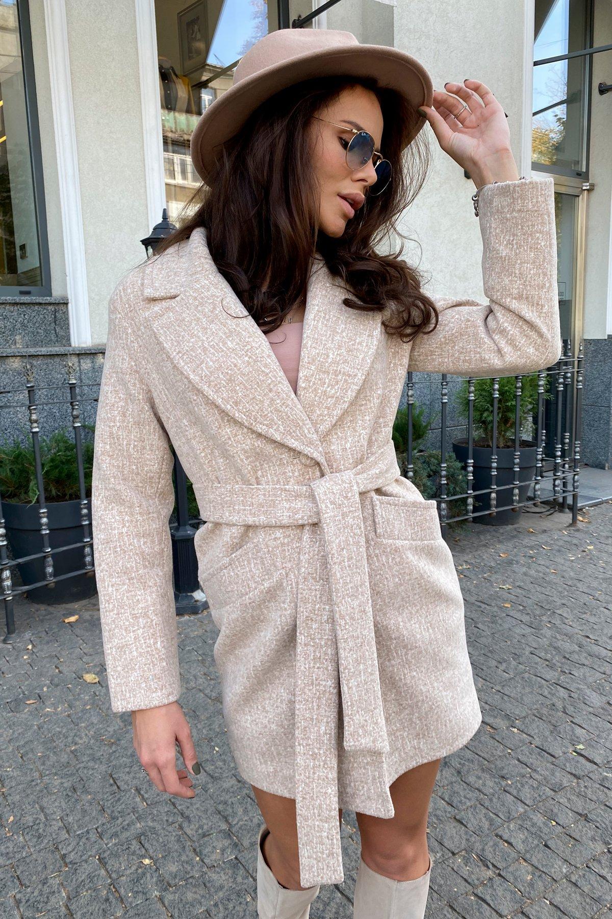 Вейсона кашемир на трикотаже текстурный пальто 9872 АРТ. 46160 Цвет: Бежевый/молоко - фото 9, интернет магазин tm-modus.ru