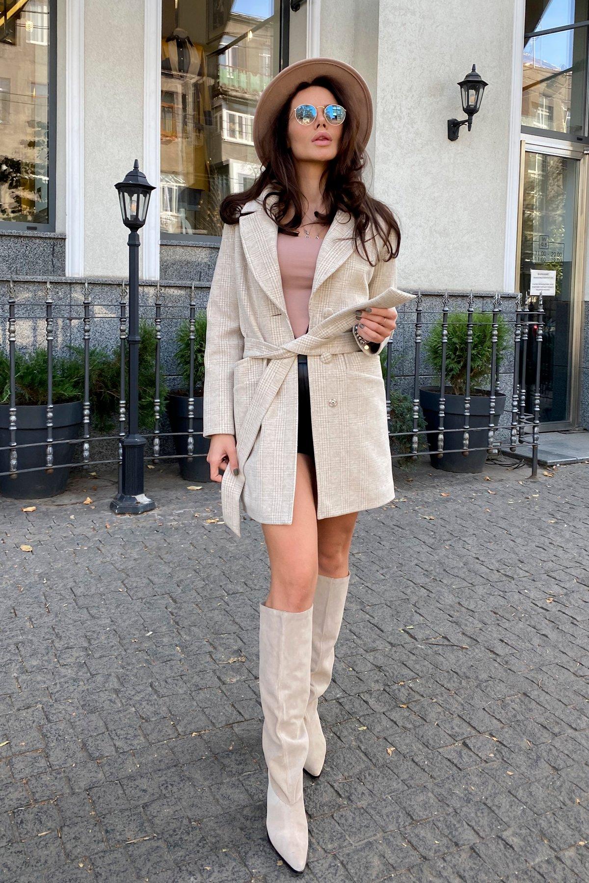 Вейсона кашемир на трикотаже текстурный пальто 9872 АРТ. 46160 Цвет: Бежевый/молоко - фото 6, интернет магазин tm-modus.ru