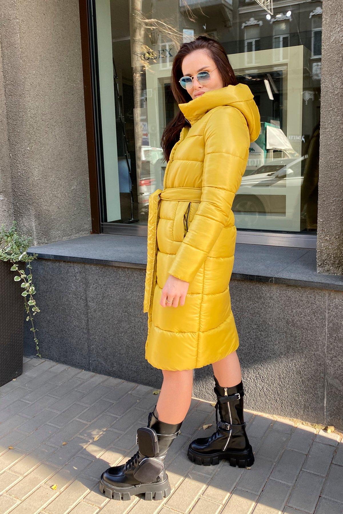 Удлиненный зимний пуховик с поясом Сигма 8040 АРТ. 44913 Цвет: Горчица - фото 14, интернет магазин tm-modus.ru