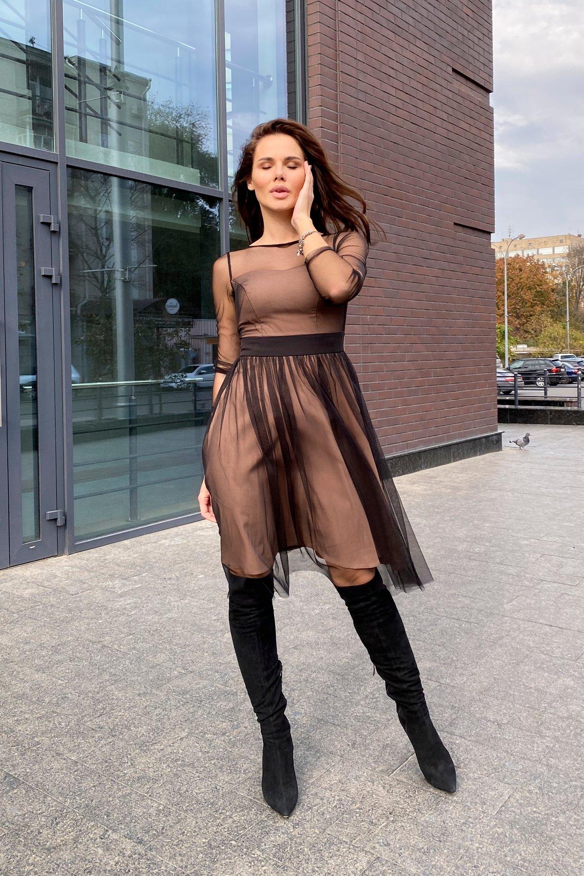 Платье миди длины с юбкой солнце-клеш Роял 8681 АРТ. 45006 Цвет: Черный/золото - фото 1, интернет магазин tm-modus.ru