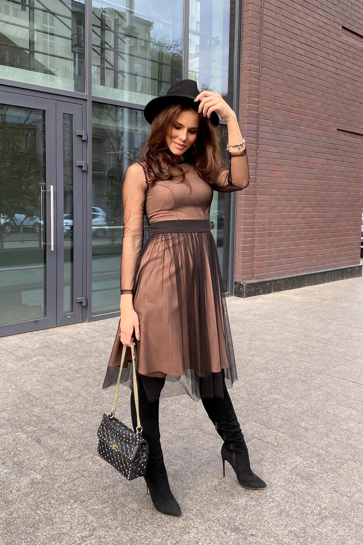 Платье миди длины с юбкой солнце-клеш Роял 8681 АРТ. 45006 Цвет: Черный/золото - фото 9, интернет магазин tm-modus.ru