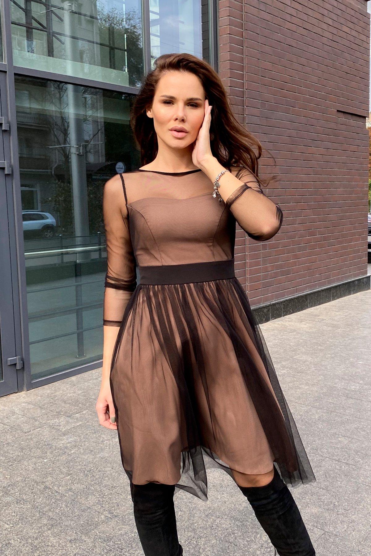 Платье миди длины с юбкой солнце-клеш Роял 8681 АРТ. 45006 Цвет: Черный/золото - фото 6, интернет магазин tm-modus.ru