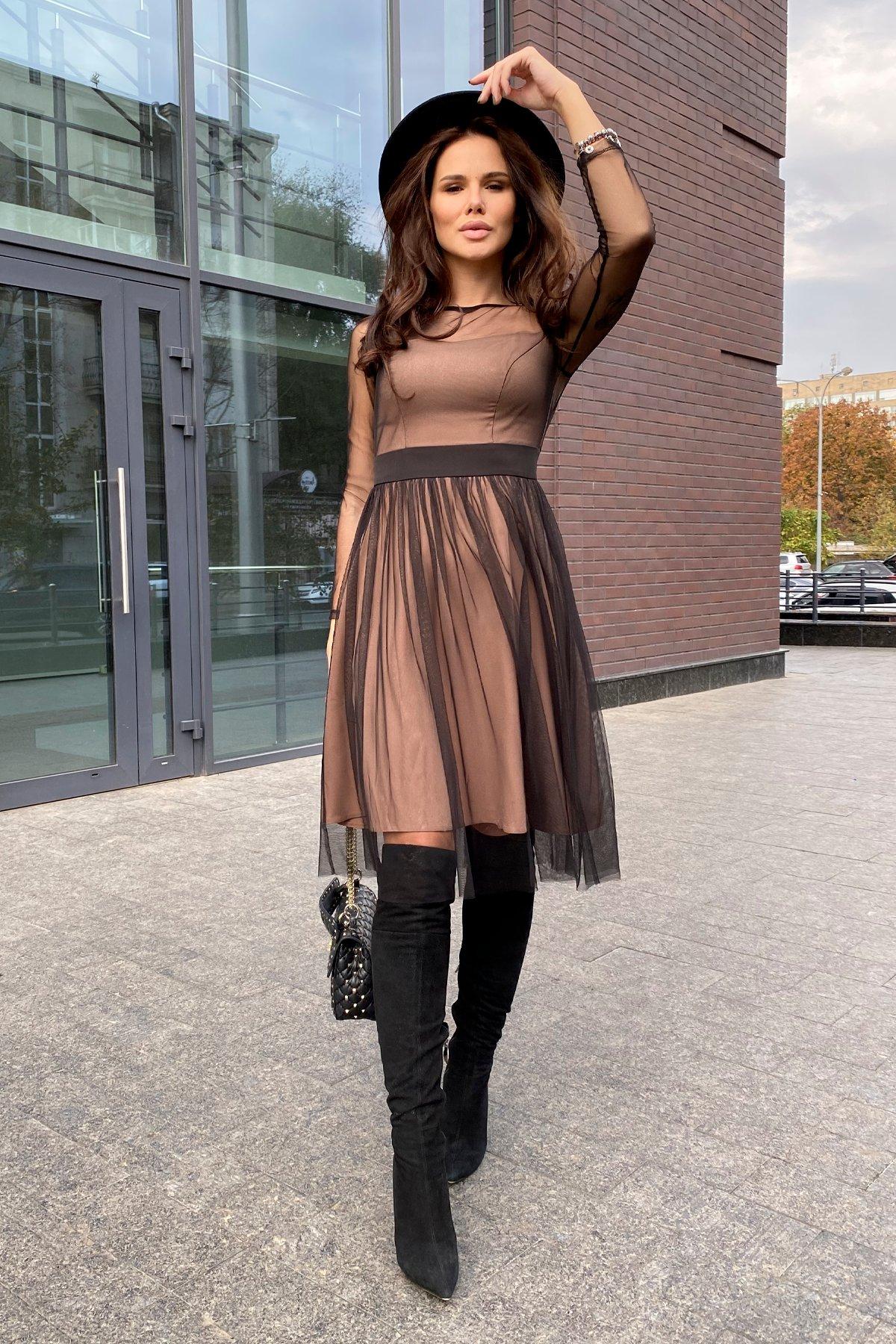 Платье миди длины с юбкой солнце-клеш Роял 8681 АРТ. 45006 Цвет: Черный/золото - фото 17, интернет магазин tm-modus.ru