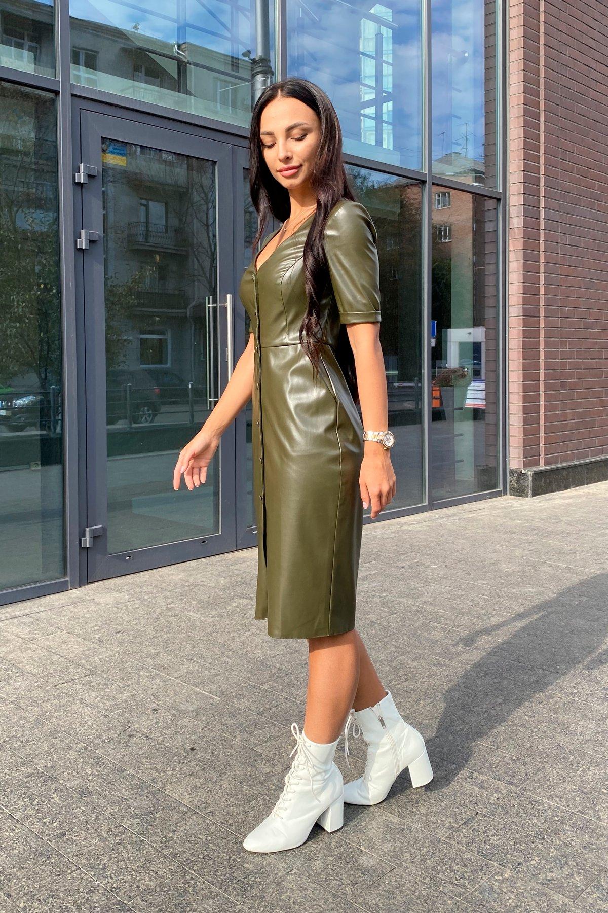 Платье из экокожи Тетрис 7847 АРТ. 43899 Цвет: Хаки - фото 1, интернет магазин tm-modus.ru