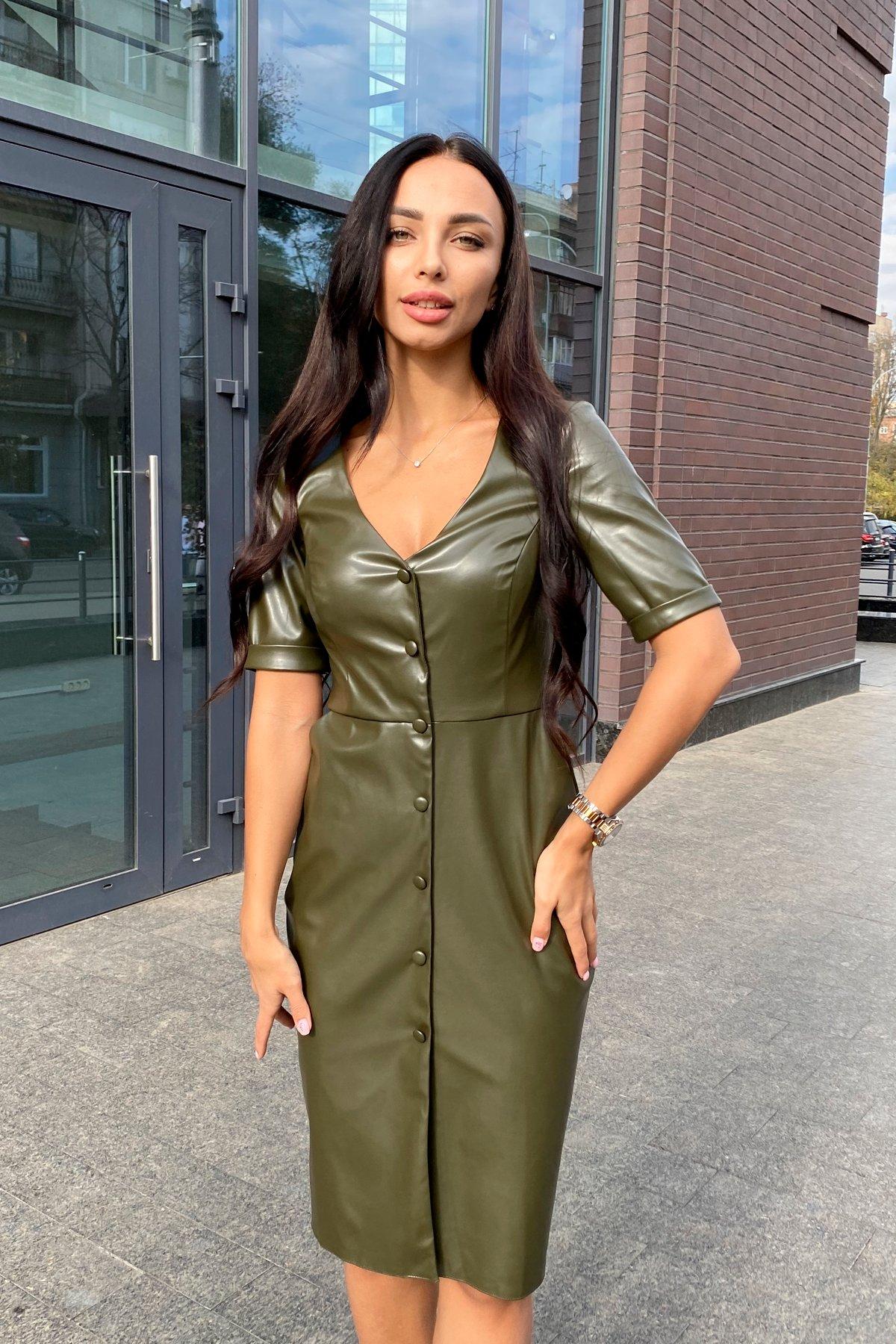 Платье из экокожи Тетрис 7847 АРТ. 43899 Цвет: Хаки - фото 5, интернет магазин tm-modus.ru