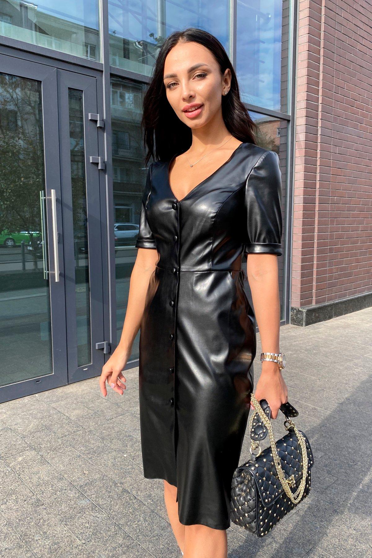 Платье из экокожи Тетрис 7847 Цвет: Черный