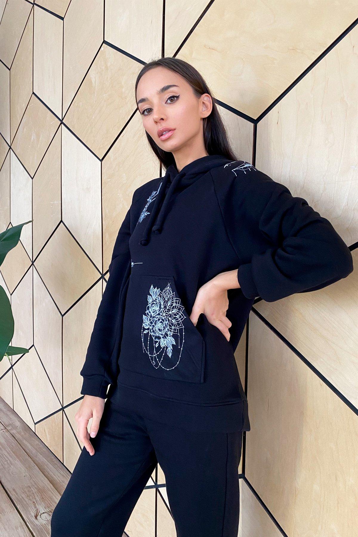 Тату костюм на флисе Oversize 9815 АРТ. 46246 Цвет: Черный - фото 4, интернет магазин tm-modus.ru