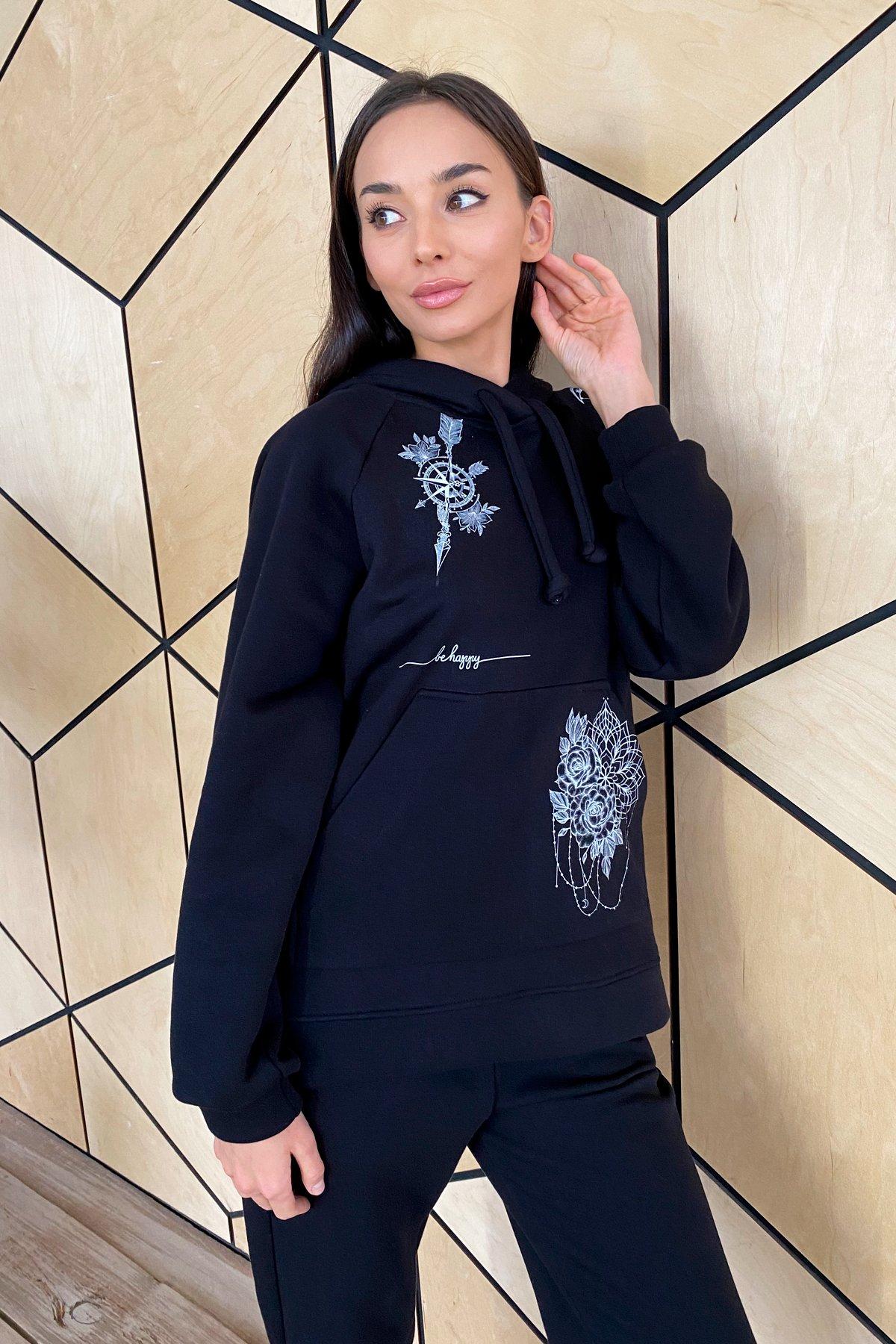 Тату костюм на флисе Oversize 9815 АРТ. 46246 Цвет: Черный - фото 5, интернет магазин tm-modus.ru