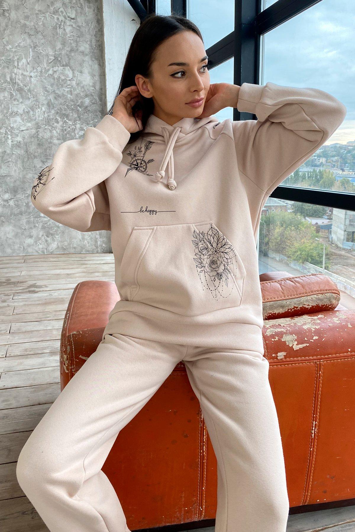 Тату костюм на флисе Oversize 9815 АРТ. 46245 Цвет: св. бежевый - фото 6, интернет магазин tm-modus.ru