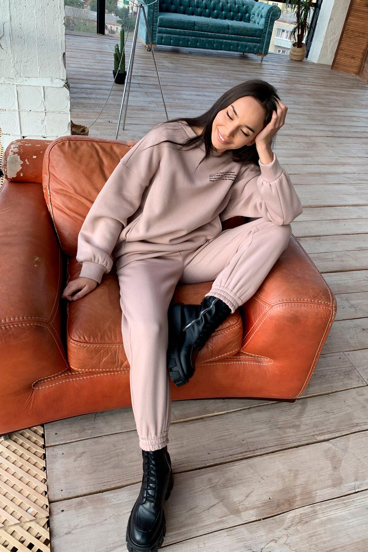 Ремейк Oversize трикотаж 3х нитка с начесом костюм 9969 АРТ. 46251 Цвет: Кофе - фото 3, интернет магазин tm-modus.ru