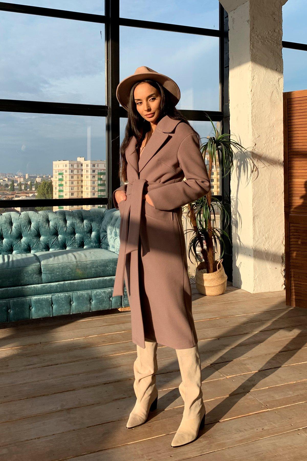 Купить пальто оптом от Modus Вейсона макси кашемир на трикотаже зима хомут пальто 9942