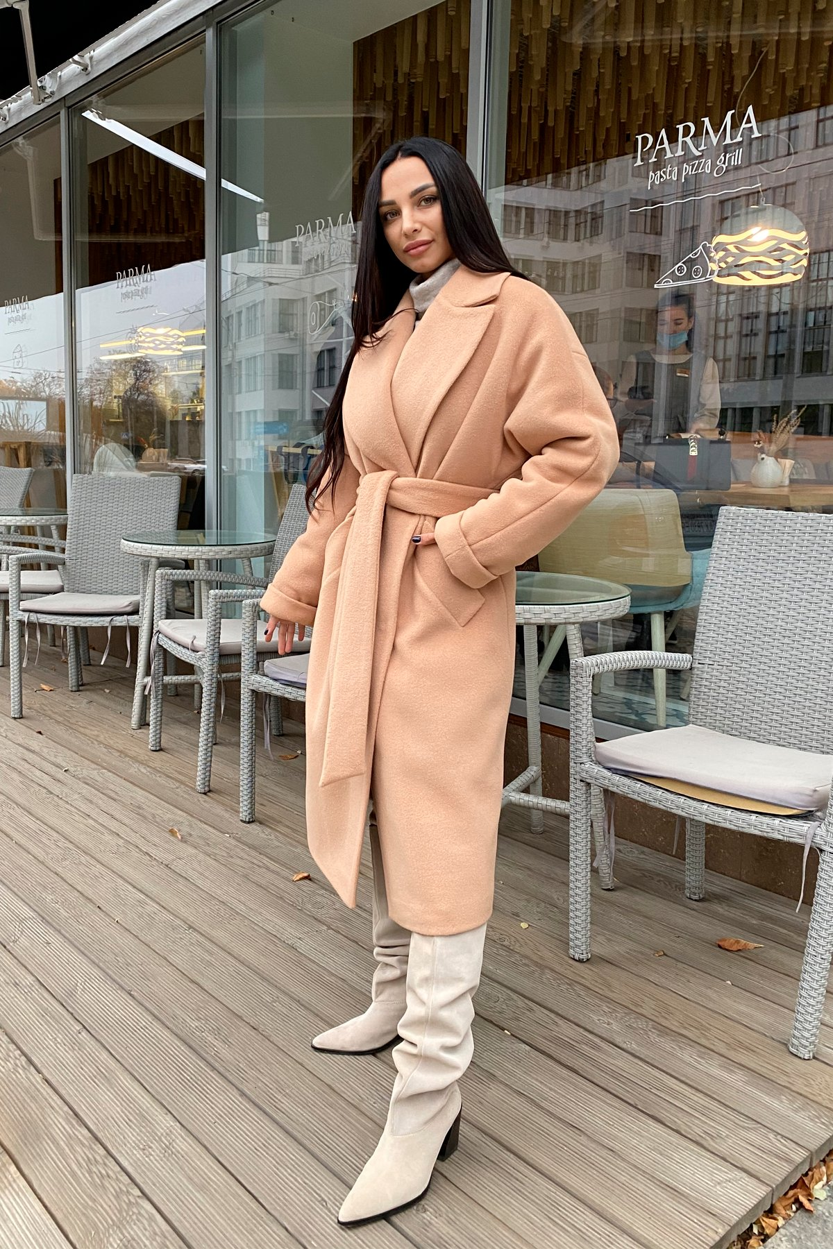 Влада пальтовая ткань ворсовка зима Хомут пальто 10019 АРТ. 46316 Цвет: Кемел - фото 2, интернет магазин tm-modus.ru