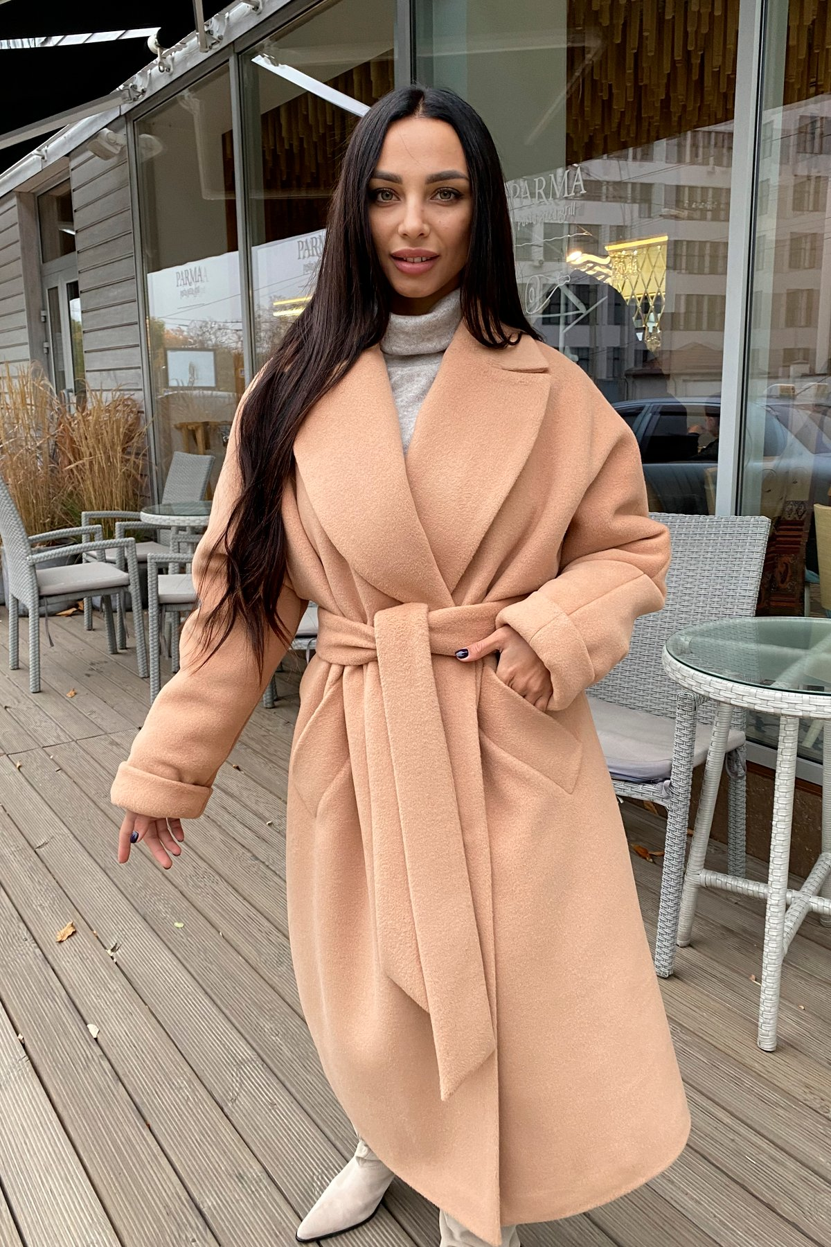 Купить пальто в Харькове Modus Влада пальтовая ткань ворсовка зима Хомут пальто 10019