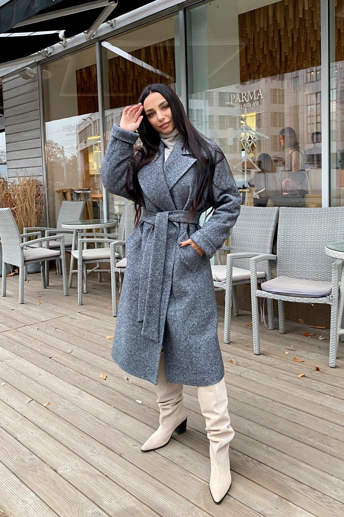 Влада шерсть варенка зима Хомут пальто 10021 АРТ. 46318 Цвет: Серый темный 5 - фото 1, интернет магазин tm-modus.ru