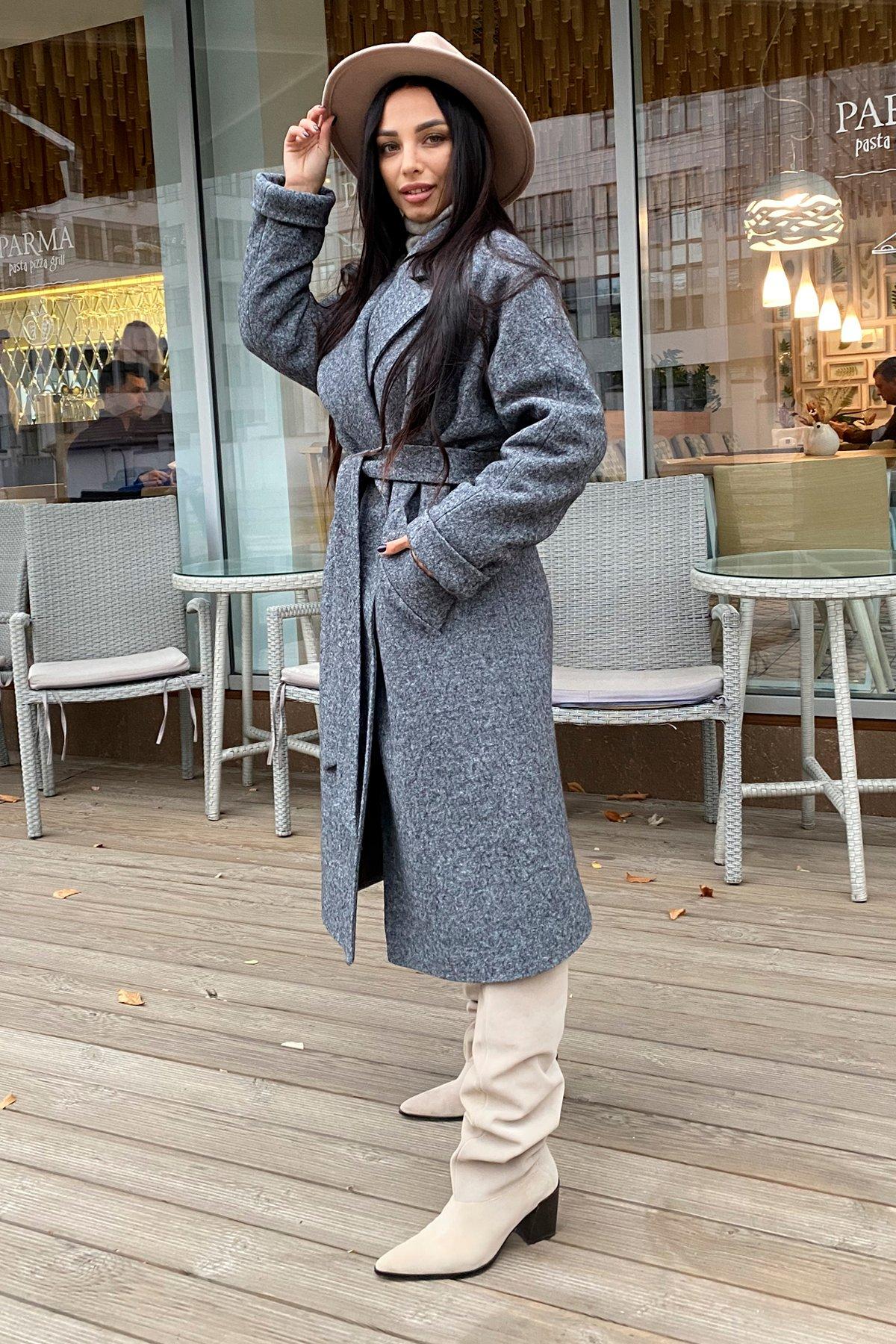 Влада шерсть варенка зима Хомут пальто 10021 АРТ. 46318 Цвет: Серый темный 5 - фото 3, интернет магазин tm-modus.ru