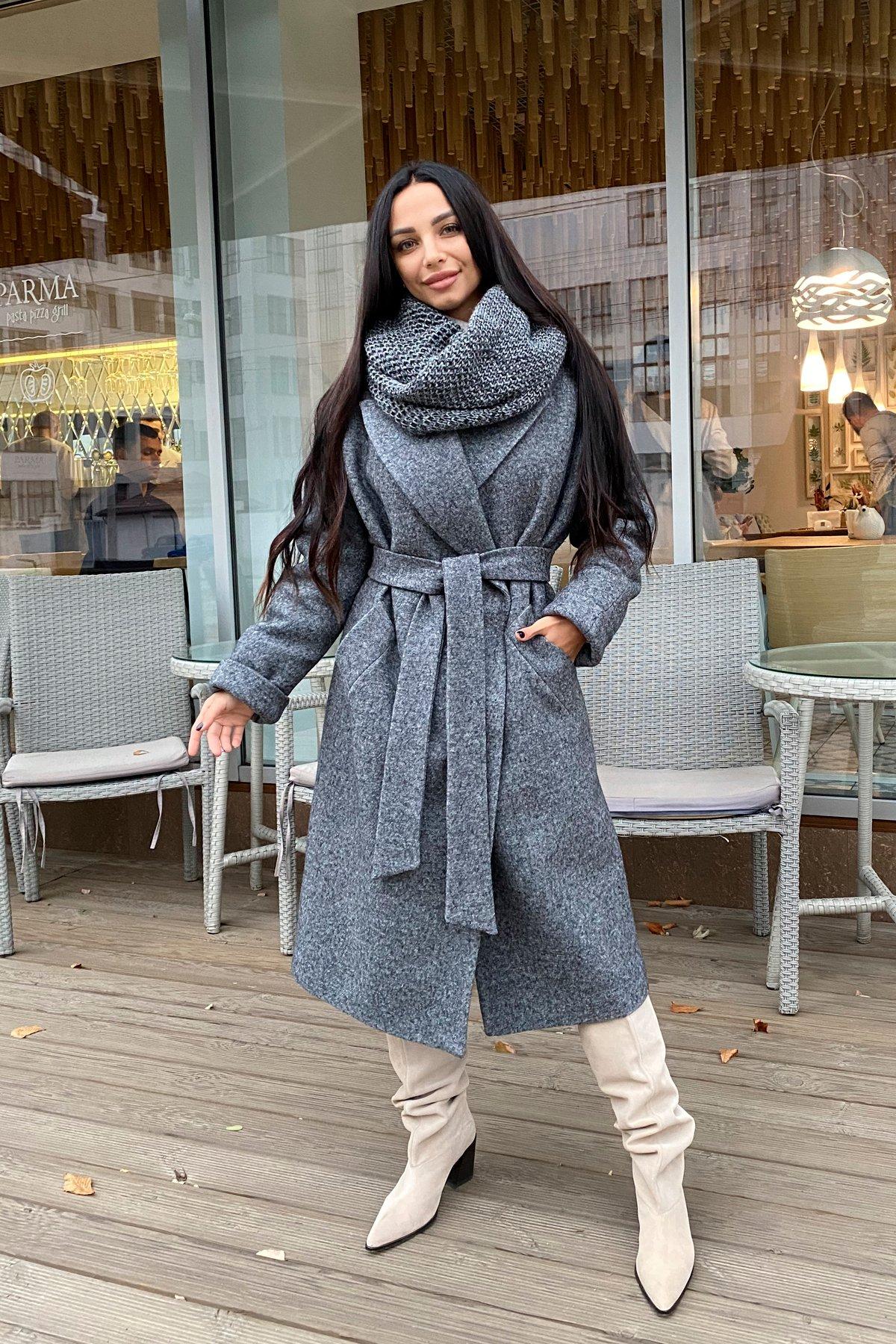 Влада шерсть варенка зима Хомут пальто 10021 АРТ. 46318 Цвет: Серый темный 5 - фото 5, интернет магазин tm-modus.ru