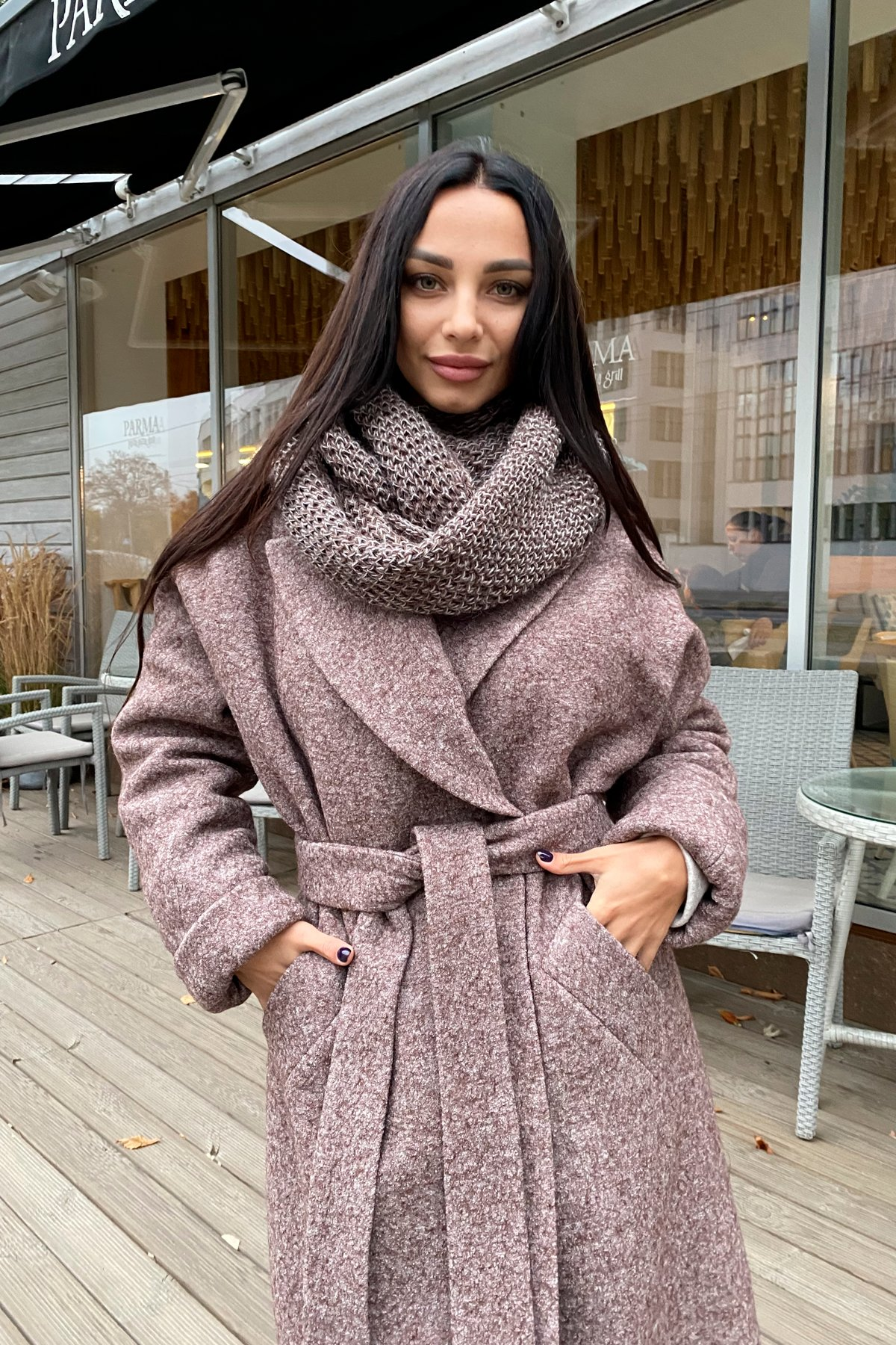 Влада шерсть варенка зима Хомут пальто 10021 АРТ. 46319 Цвет: Кофе - фото 3, интернет магазин tm-modus.ru