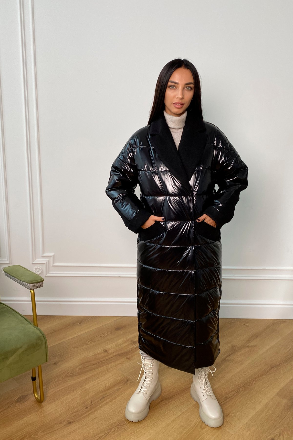 Санре утепленное пальто из комбинации плащевой и пальтовой ткани 9940 АРТ. 46234 Цвет: Черный - фото 1, интернет магазин tm-modus.ru