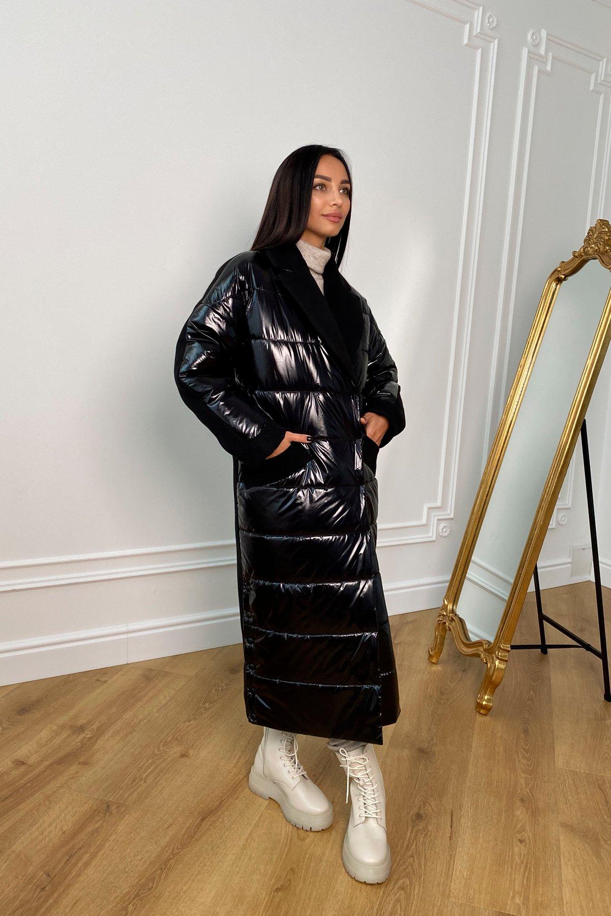 Санре утепленное пальто из комбинации плащевой и пальтовой ткани 9940 АРТ. 46234 Цвет: Черный - фото 2, интернет магазин tm-modus.ru