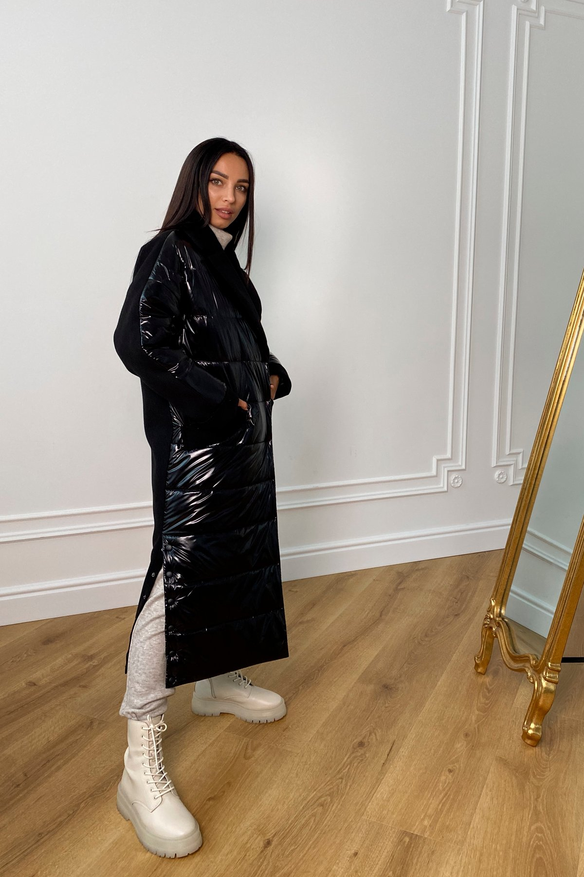 Санре утепленное пальто из комбинации плащевой и пальтовой ткани 9940 АРТ. 46234 Цвет: Черный - фото 3, интернет магазин tm-modus.ru