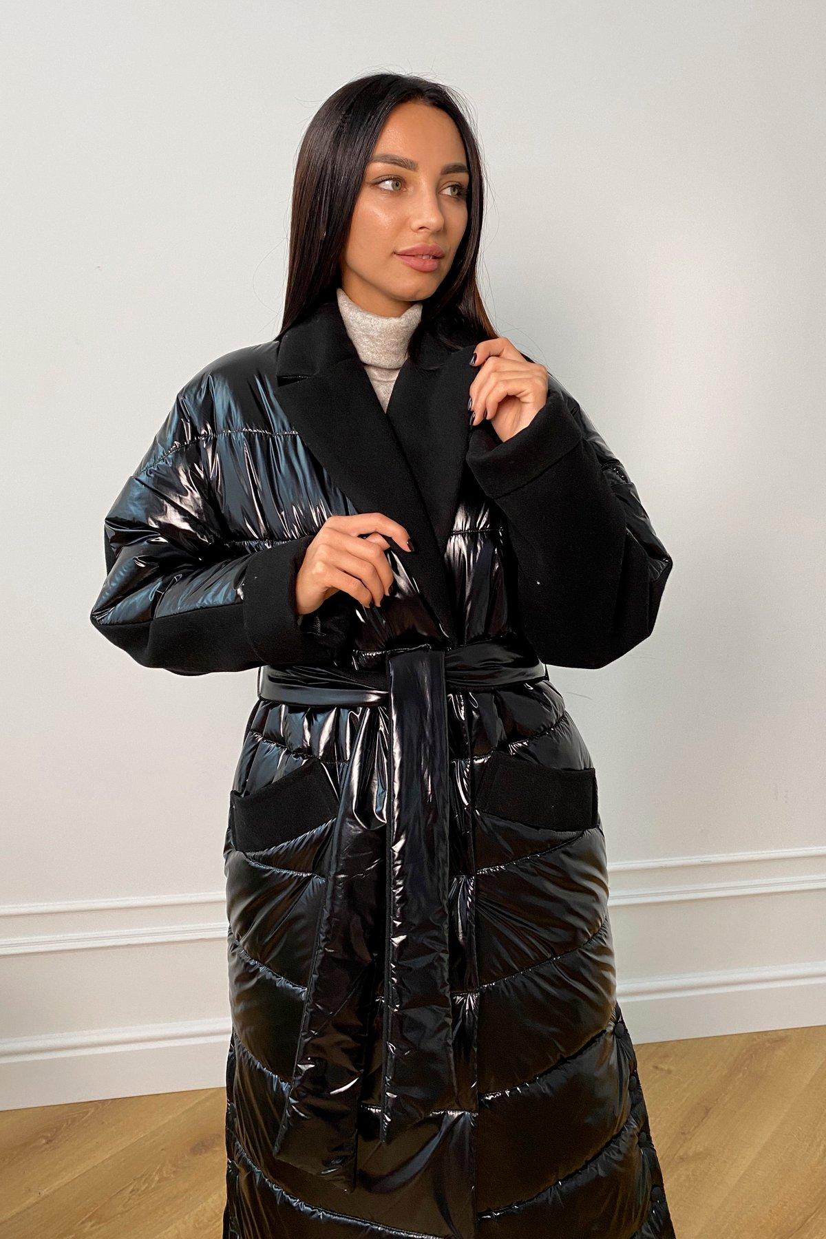 Санре утепленное пальто из комбинации плащевой и пальтовой ткани 9940 АРТ. 46234 Цвет: Черный - фото 5, интернет магазин tm-modus.ru