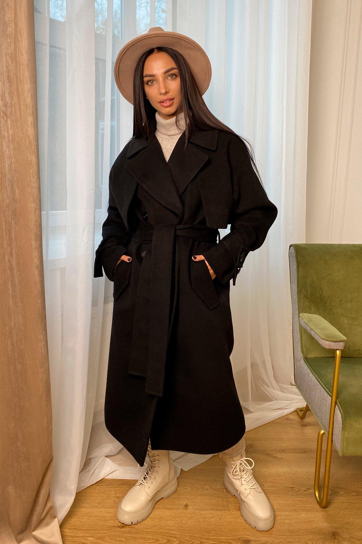 Твин макси кашемир китай пальто 9953 АРТ. 46242 Цвет: Черный - фото 1, интернет магазин tm-modus.ru