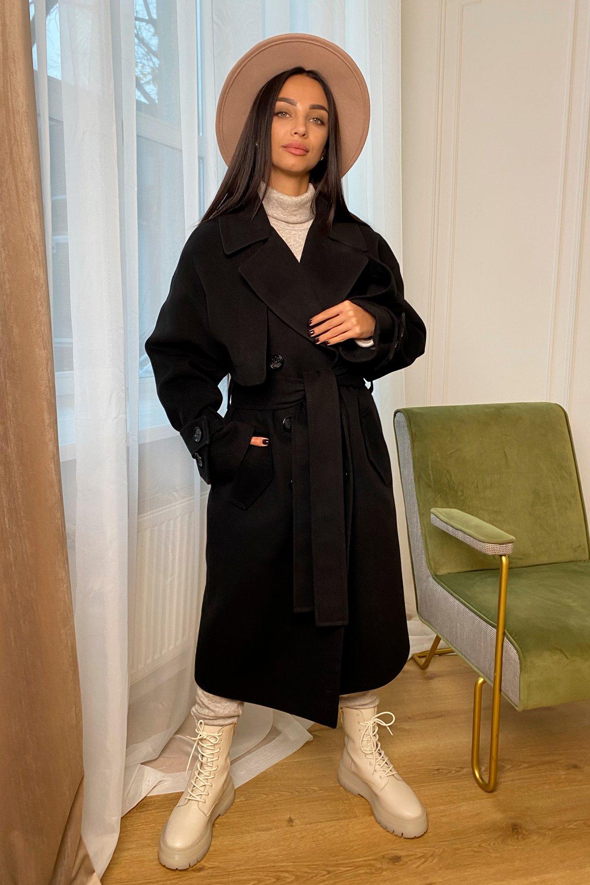 Твин макси кашемир китай пальто 9953 АРТ. 46242 Цвет: Черный - фото 3, интернет магазин tm-modus.ru