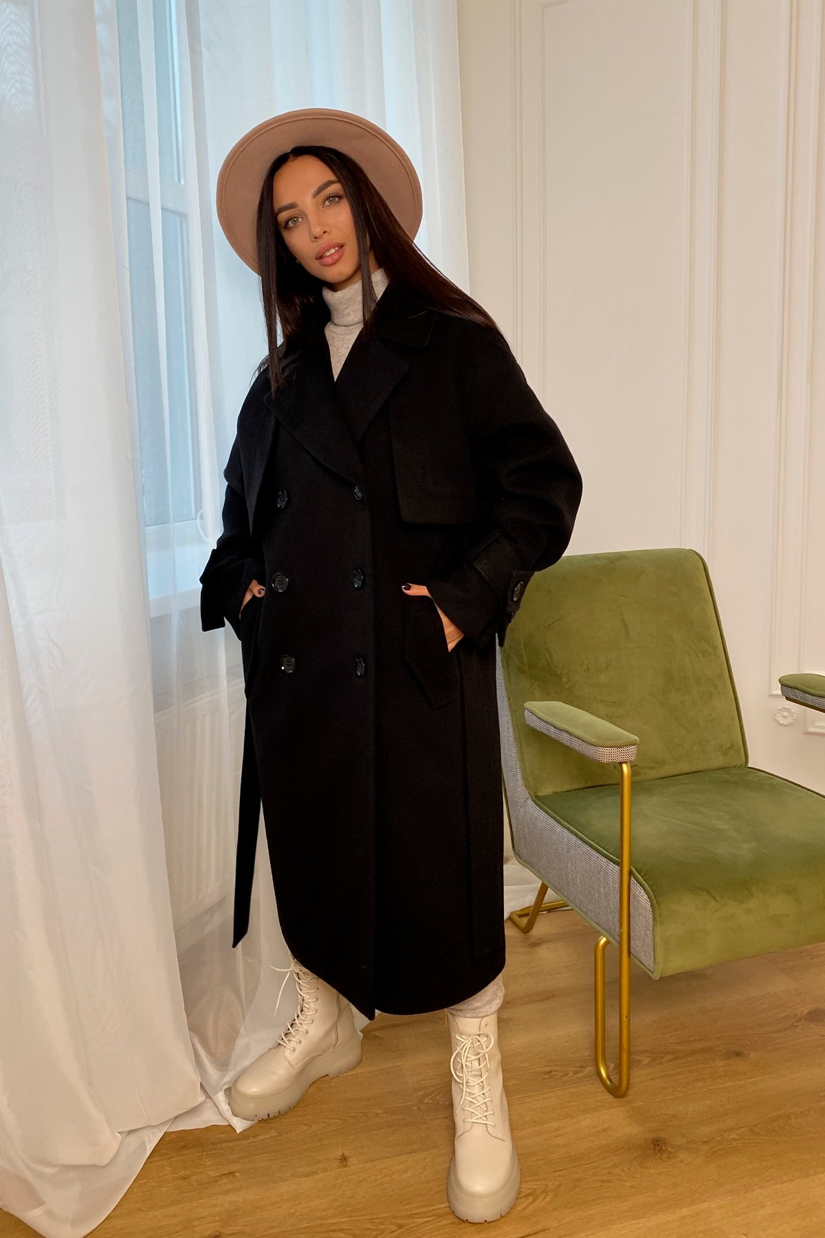 Твин макси кашемир китай пальто 9953 АРТ. 46242 Цвет: Черный - фото 9, интернет магазин tm-modus.ru