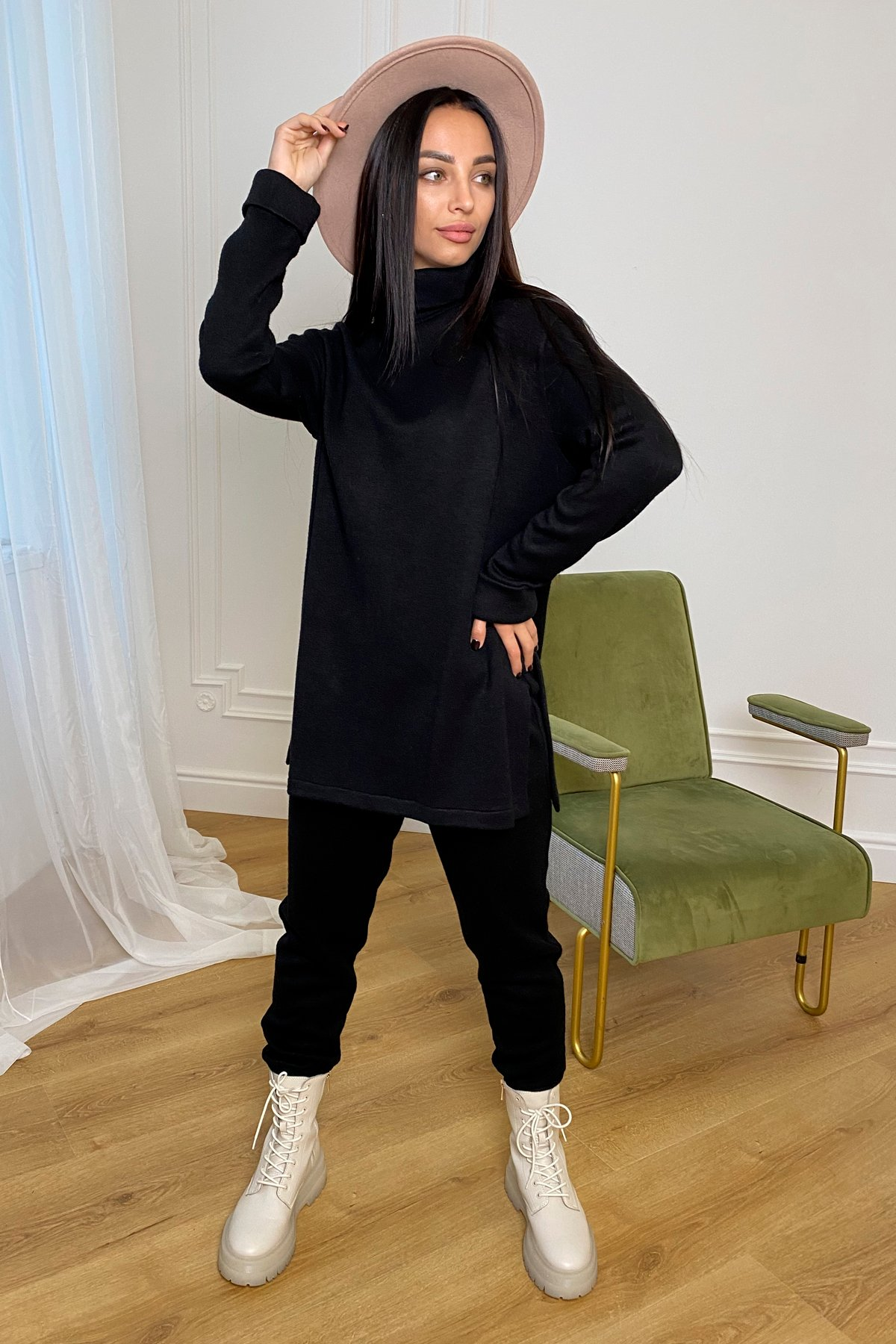 Люкс прогулочный костюм  из ангоры  9975 АРТ. 46312 Цвет: Черный - фото 4, интернет магазин tm-modus.ru